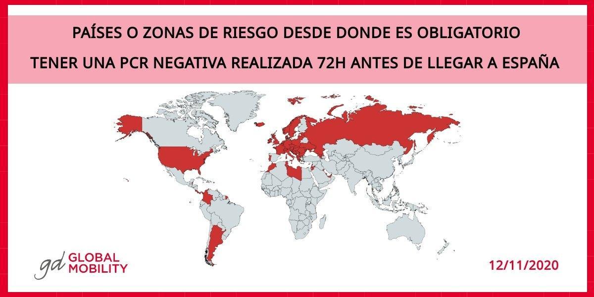 España exige PCR negativa para viajeros de 65 países